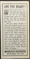 Motorcycle IIustrated 1910 Ad Card ~ Mart Column Ad Rates ~ Sell Your Motorcycle