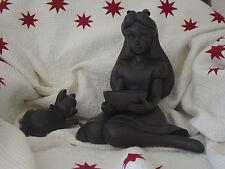 Rare Disney Alice in Wonderland Garden Lawn Statue Big Fig Figurine w/ Dinah Cat
