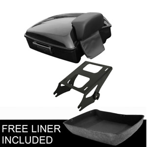Chopped Pack Trunk Backrest 2UP Mount Rack Fit For Harley Tour Pak Touring 14-21
