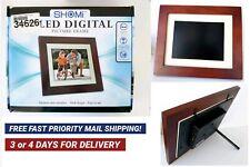 """SHOMI 7"""" LED DIGITAL PICTURE FRAME  DARK WOOD FRAME SD & MMC READER CLOCK  USB"""