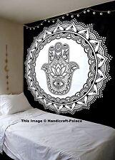 Black & White Hamsa Hand Tapestry Wall Hanging Indian Mandala Bedspread Throw