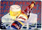 Hamm's Beer METAL counter display sign - Vintage  Design - Beer on Ice OPEN Sign