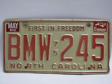 Vintage 1975 North Carolina NC License Plate BMW 245