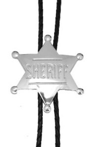"Sheriff Badge Star Bolo Tie Adjustable 36"" Cord USA Made Western Silver Tone"