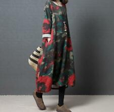 Womens Cotton Linen Floral Loose Fit Long Sleeve A-Line Casual Dress Maxi Retro