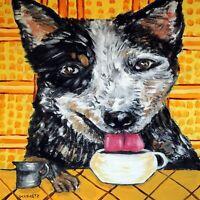 australian cattle dog at a coffee bar art tile coaster gift