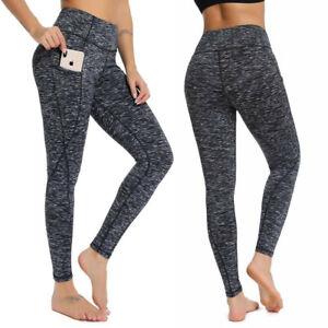 Women Yoga Pants Push Up Leggings Pocket High Waist Workout Stretch Trousers Gym