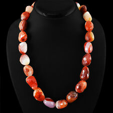 GENUINE 875.00 CTS NATURAL UNHEATED RICH ORANGE AGATE BEADS NECKLACE - ON SALE