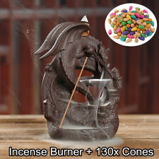 Ceramic Dragon Incense Burner Waterfall Backflow Holder Censer With 130x Cones