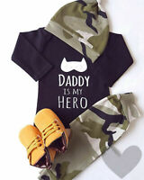 Toddler Infant Baby Boy Bodysuit Outfits Tops Romper Camo Pants Hat Clothes Set