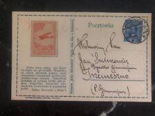 1931 Bydgoszcz Poland Airmail Postcard Cover LOPP 2gr Stamp Esperanto