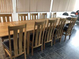 large extending oak dining table