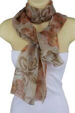 Women Classic Beige Fashion Scarf Soft Fabric Long Orange Floral Neck Tie Wrap