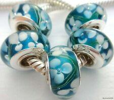 5PCS Silver Single Core Murano Lamp Glass Beads fit European Charm Bracelet A015