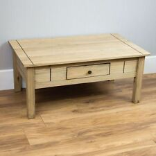 Panama 1 Drawer Coffee Table Mexican Solid Pine Wood Waxed Rustic Oak Finish