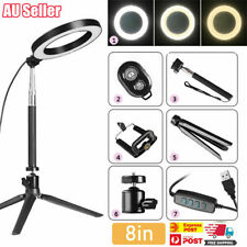 "8"" Ring Light with Stand Dimmable 64LED Lighting Kit For Makeup Youtube Live AU"