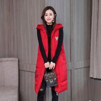 Long Winter Vest For Women Zipper Hooded Sleeveless Jacket Soft Padded Thermal
