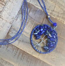 Sodalite Tree of Life Necklace Gemstone Pendant Crystal healing stones