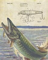 Muskie Fishing Lures Patent Print Vintage Fish Lodge Cabin Decor Wall Art Decor