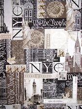 New York Statue Liberty Sepia Cotton Fabric Kanvas Studio Renaissance Man - Yard