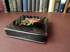 Victorian Black Lacquered Papier Mache Box, Red Rose Motif Decoration
