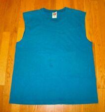 VTG  FRUIT OF THE LOOM Tee Shirt Sleeveless Aqua Blue USA Made Sz L 100% Cotton