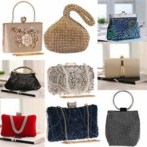 Womens Beaded Crystal Clutches Rhinestone Evening Bags Wedding Bridal Prom Purse