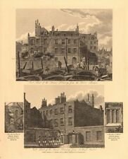 THE QUEEN'S TREASURY. East & West fronts. Scotland Yard. London. WILKINSON 1834