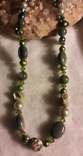One of a kind handcrafted artisan jewelry Green pearl Crystal shell necklace