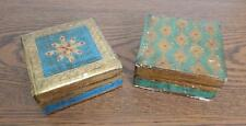 """TWO 4"""" X 4"""" X 2"""" Gold, Teal & Rose FAR EAST Hinged Lid Wooden Boxes NOT PERFECT"""