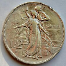Italy 2 Lire, 1911 Vittorio Emanuele III, 50th Anniversary of the Kingdom Italy