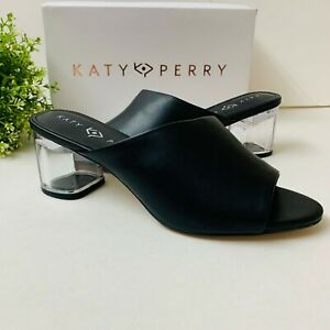 Katy Perry The Landen Block Heel Sandal Black KP0975 Open Toe Chunky Heel
