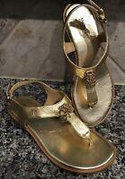 """MICHAEL Michael Kors Women's Sz 6.5 M """"Suki T-Strap Charm Sandal"""" GOLD NEW"""