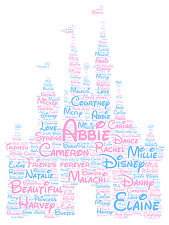 Personalised Word Art Print Castle Disney princess daughter family gift card