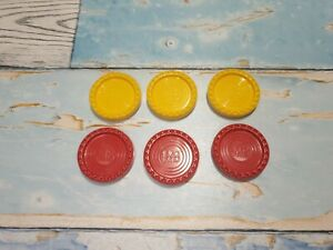 1975 MB Games Connect 4 Spares/Replacement Parts - 3 x Red & 3 x Yellow Counters