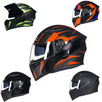 GXT Modular Flip Up Motorcycle Helmet Full Face Dual Visor Street Racing Bike