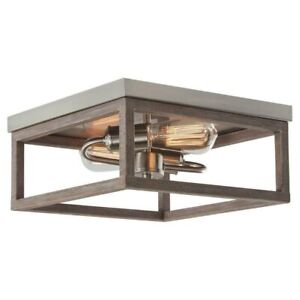 Home Decorators Boswell Quarter 2 Light Nickel & Weathered Wood Flush Mount