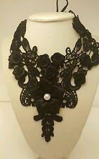 Lace Black Necklace Set Flower Choker Gothic Pendant Fashion Collar Womens Gems