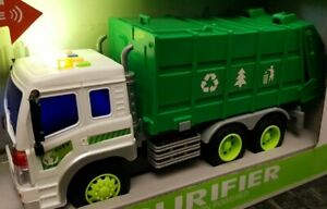 Friction Powered Large Garbage Truck Bin Toy Led & Sounds Boys Girls Toys 1:16