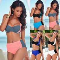 Women High Waist Halterneck Bikini Set Swimwear Push Up Summer Beach Swimsuit