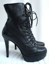 VICTORIAN..GRANNY..BLACK..LEATHER..LACE UP..STILETTO..PLATFORM..ANKLE..BOOTS.6.5