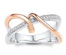 10K White Gold & Rose Gold Diamond Cross Over Ring .10ct Open Framework Band