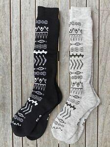 XTM 2 Pack Anouk Black&Grey SnowBoard Merino Wool Socks 2-8 6-10 11-14