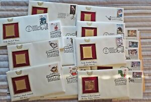 Lot of 40 >> 1st Day Issue Golden Replica Stamps 22Kt Gold