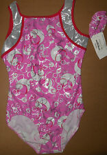 Nwt Destira Gymnastic Leotard Pink w/ Silver Foil Design Red Trim Med Adult 4001