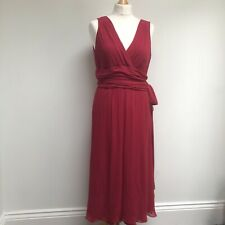 HOBBS Dress Size 14 Red 100% Silk Chiffon V Neck Lined Event Occasion