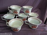 8 WEDGWOOD FLYING CLOUD COFFEE CUPS GAMECOCK ENGLAND SHIP  Vintage