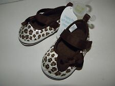 Stepping Stones Infant Baby Girl Leopard Sequin ~Size 4~ Crib Shoes ~9-12 Months