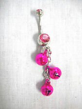 BOLLYWOOD DANCER FUSCIA PINK DANGLING JINGLE BELLS CHAIN HOT PINK CZ BELLY RING