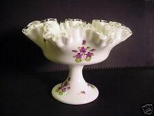 Fenton Silvercrest Compote Violets in Snow Handpainted
